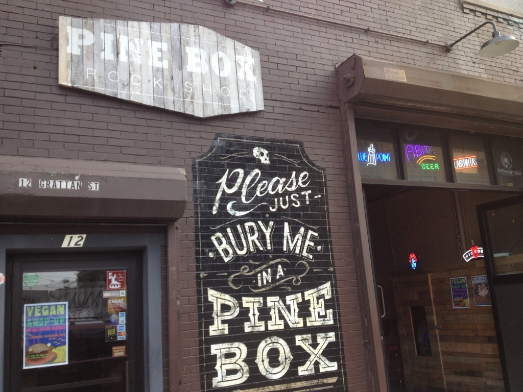 PINE BOX ROCK SHOP, 12 Grattan Street (between Morgan Avenue and Bogart Street), Bushwick, Brooklyn