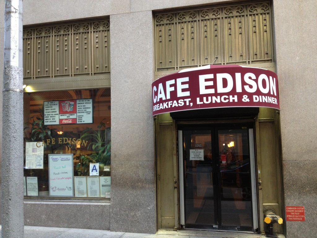 CAFE EDISON, 228 West 47th Street (between Broadway and Eighth Avenue), Theater District
